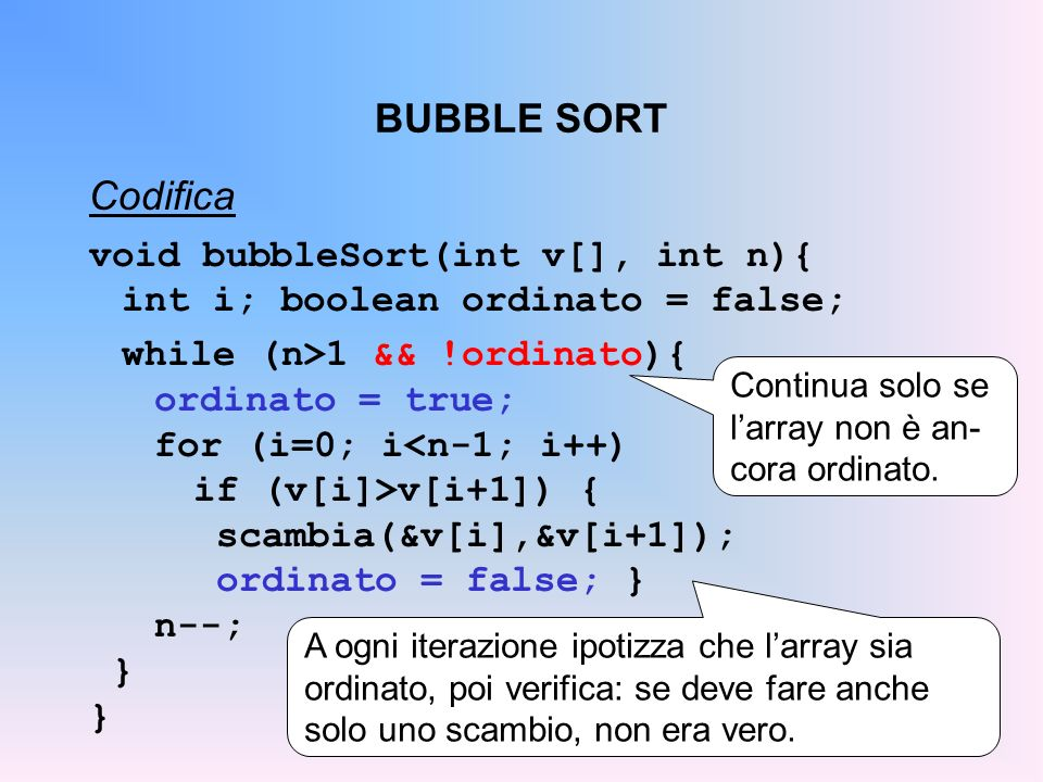 BUBBLE SORT Codifica void bubbleSort(int v[], int n){